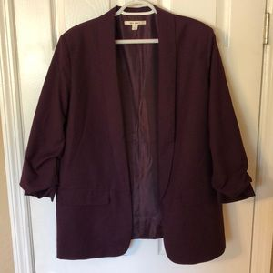 Purple Blazer with Ruched sleeves